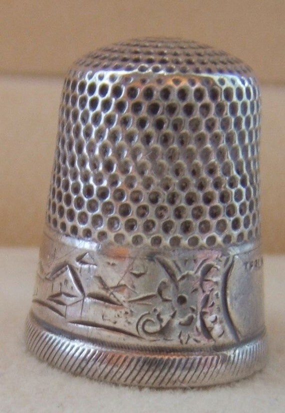 Sterling Silver Thimble Etched Town Scene VINTAGE by STERN