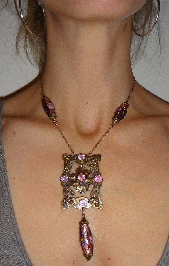 Vintage Art Nouveau Necklace  Pink stones   One of a Kind
