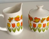 Cream and Sugar Set Tulips and Butterflies