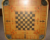 Antique Carrom Crokinole Game Board - Type E