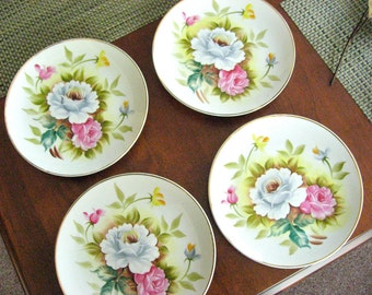 Botanical Dessert Plates - Hand Painted Porcelain - Japan