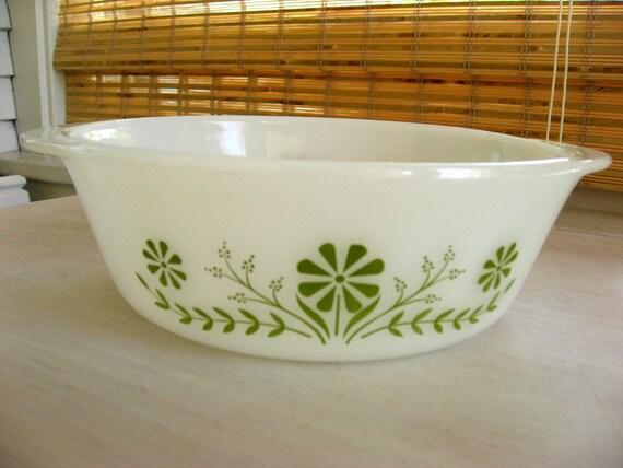 Glasbake Casserole - Green Daisies - Ovenware