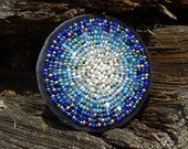 Cobalt Blue Circle Brooch Ombre Brooch