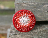 Red White Brooch Bead Embroidered Circle Brooch Europeanstreetteam Red White Beadwork