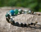 Forest Nymph Bracelete. Pyrite, Agate, Jasper, Quartz, Freshwater Pearl