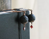 Black and Red Earrings Volcanic Lava Rock and Red Garnet Dangle Earrings