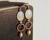 Gemstone Earrings - Ivory Carnelian, Swarovski Crystal and Freshwater Pearl Earrings on Antiqued Copper
