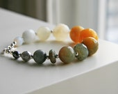 Ombre Mustard Yellow, Grey and Ivory Stone Bracelet - Sterling Silver. Pantone Spring 2012 Solar Power