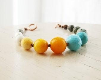 Beaded Bracelet Yellow, Robins Egg Blue, Grey and Ivory Stone Beaded Bracelet Yellow Turquoise Chunky
