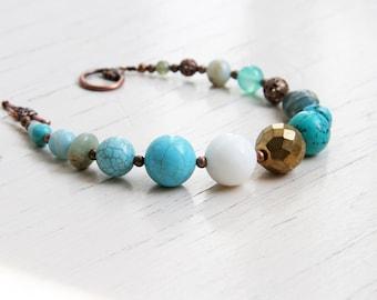 Something Blue Turquoise Bracelet Blue Beaded Bracelet Turquoise Jewelry Bracelet Blue Gemstone