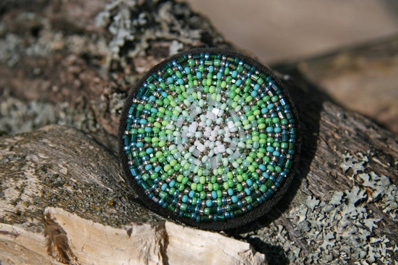 Green Circle Brooch Leaf, Forest, Apple, Lime, Mint Green Mandala Brooch Bead Embroidered