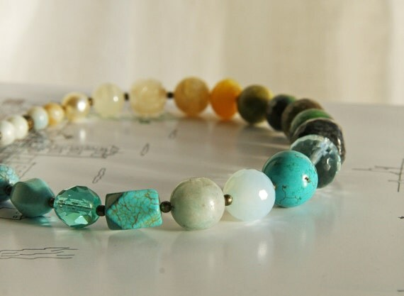 Turquoise,Aqua blue, Yellow, Green, Grey, Clear and Ivory Necklace