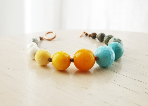 Yellow Sun, Robins Egg Blue, Grey and Ivory Stone Beaded Bracelet Europeanstreetteam Yellow Turquoise
