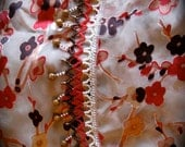 Brown and red flowered scarf with beads & chrysanthemum gemstones