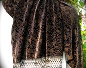 Black velveteen burnout wrap scarf with black, gray, silver and glass beads