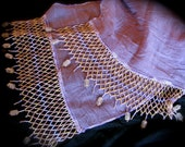 Sheer lilac crinkle scarf with purple and yellow seed beads and golden rutilated quartz