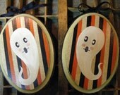 Pair of Halloween Ghost Original Orwell Paintings by The Peppermint Forest