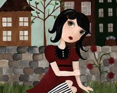 LaRue Cute Whimsical Girl in Red Gothic Folk Art Print by The Peppermint Forest