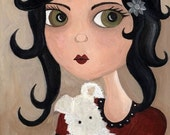 The Girl Who Loves Mr. Boo Whimsical Folk Art Dog Print by The Peppermint Forest