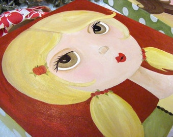 The Candy Apple Brigade Whimsical Folk Art Enhanced Canvas Giclees by The Peppermint Forest