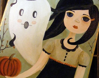 Olivia and Orwell, Handmade Original Halloween Painting from The Peppermint Forest