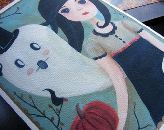 Olivia & Orwell, Handmade Halloween Ghost and Girl Illustration Print by The Peppermint Forest