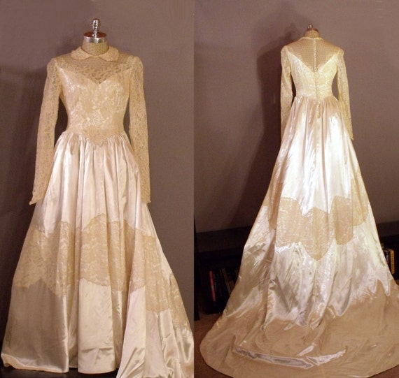 1940s tea colored lace and cream satin wedding dress with long for Cream colored lace wedding dresses