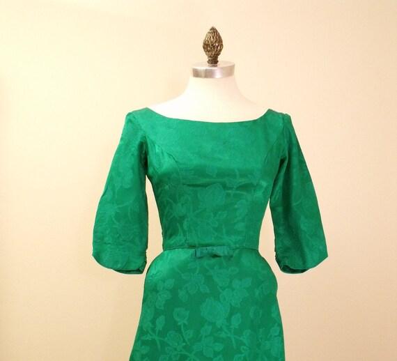 60s Emerald Green Damask Satin Formal Dress