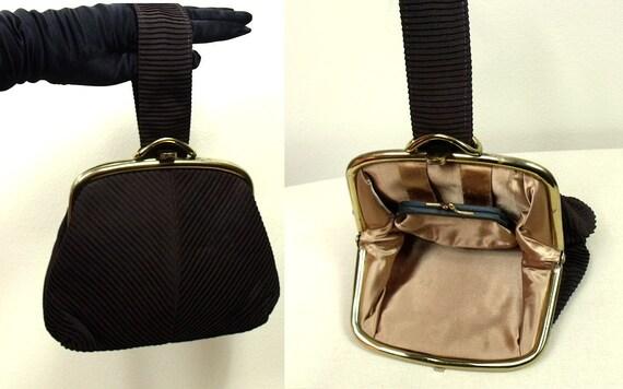 1940s Vintage Wristlet Purse / Chocolate Brown Evening Bag