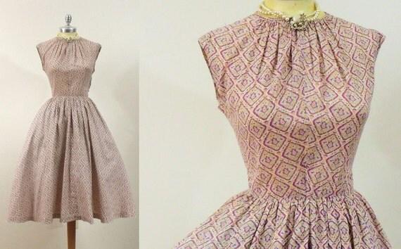1950s India Print Dress with Keyhole Neck