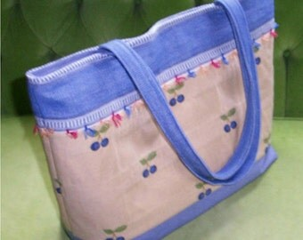 Large Blueberry Tote with Lots of Pockets