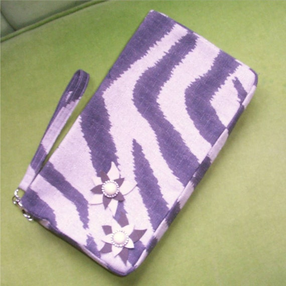 Zebra Clutch in Brown and Grey Fabric with Zip Top