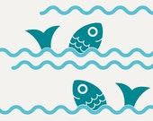 Fish Jumping Ocean Waves Wall Decals Ocean Nursery Decor Removable Vinyl Wall Stickers