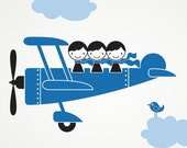Kids Airplane Triple Seater Wall Decal Sticker