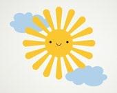 Happy Sun Vinyl Wall Decal Sticker for Baby Nursery Children