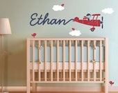 Airplane Wall Decal Boy Name Skywriter for Nursery Baby Children