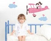 Airplane Wall Decal Sticker Girl Children Baby Nursery