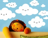 Happy Clouds Vinyl Wall Decal Stickers for Kids Room Nursery