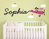 Airplane Name Wall Decal Girl Skywriter Travel Theme Nursery Baby Kids Children Airplane Wall Sticker
