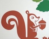 Mr. Squirrel with Giant Acorn plus 14 Small Acorns Vinyl Wall Decal (part of the Woodland Friends Collection)