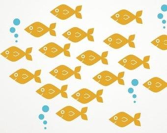 Ocean Baby Fish Vinyl Wall Decals Kids Underwater Nursery: Swim LEFT