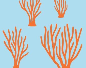 Sea Coral Wall Decals Kids Baby Ocean Underwater Nursery