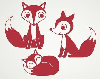 Fox Family Wall Decal Woodland Animal Nursery Theme Kids Baby Wall Decals