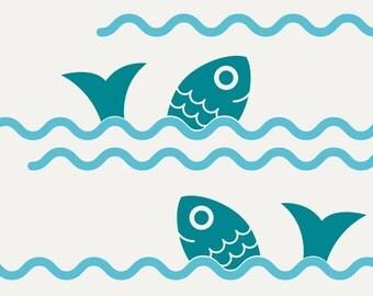 Fish Jumping Ocean Waves Wall Decals Ocean Baby Nursery Decor Sea Life Nautical Theme Under the Sea Aquarium Underwater Cute Room Border