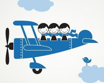 Kids Airplane Triple Seater Wall Decal Sticker: Triplet Sibling Decor Nursery Room Decorations