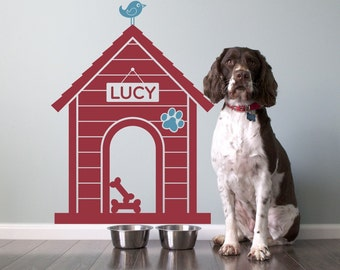 Dog House Name Wall Decal: Personalized Pet Room Sign Puppy Decor Kids Dog Theme Room Modern Indoor Dog House (SIZE MEDIUM)