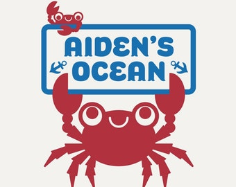Ocean King Crab Wall Decal Room Sign Nursery Kids