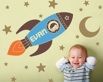 Rocket Wall Decal Boy's Name Outer Space Baby Nursery Personalized