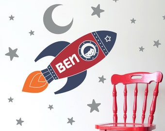 Rocket Wall Decal Boy's Name Outer Space Nursery Kids Room