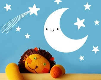 Moon Wall Decal & Star Pack for Baby Nursery Kids
